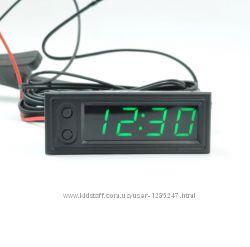 Врезные автомобильные часы, вольтметр, 2 датчика температуры