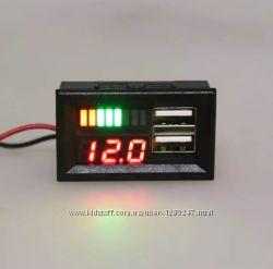 Вольтметр, зарядное 2хUSB 5V  2. 1A