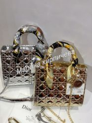 Женская сумка Диор в серебре и золоте , копия класса люкс