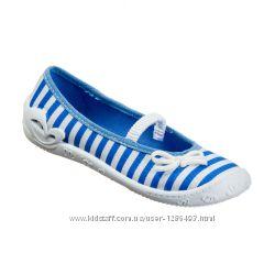 Акция Модные текстильные балетки голубая полоска PRIMA 3F Польша 31-36