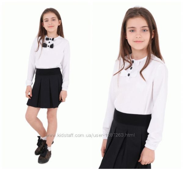 Блуза Amelia длр резинка, короткая планка, бантики белые и черные, 122-152