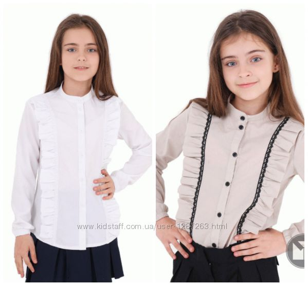 Блуза Sophie длр резинка, рюша в рельефе, белый, бежевый, 122-152р. , 10