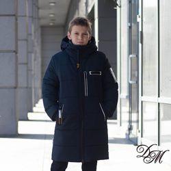 Зимнее пальто куртка  128-152р. Шерлок синий, черный 38