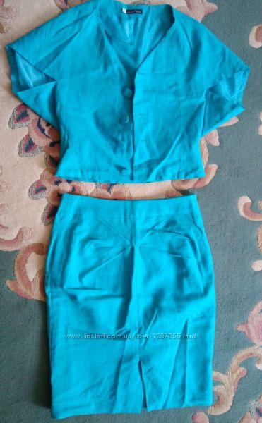 Летний бирюзовый костюм,  размер М,  натуральная ткань