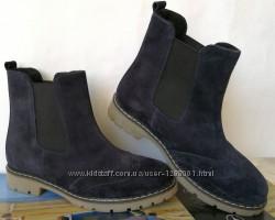 Timberland ботинки натуральный нубук синие стильные удобные практичные