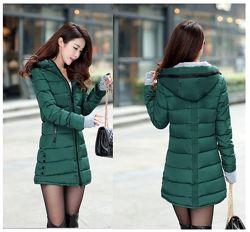 Куртка демисезонная удленённая с капюшоном цвет тёмно зелёный L / XL