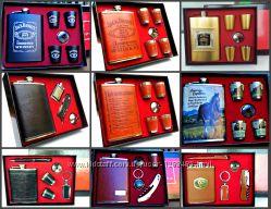 Подарочный набор фляга, зажигалка, нож складной, рюмки, ручка, кальян Джим