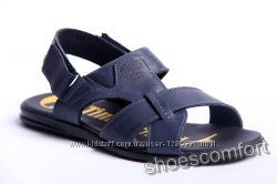 Кожаные сандалии, босоножки, шлепанцы Timberland T-2 синие реплика