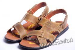 Кожаные сандалии, босоножки, шлепанцы Timberland T-2 оливковые реплика
