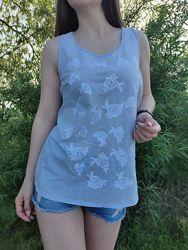 Шикарная натуральная легкая блузка голубая белая с вышивкой