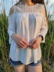 Шикарная белая блузка кружева гипюр с вырезами на плечах