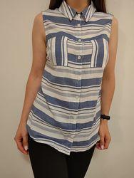 Красивенная натуральная блузка в горизонтальную полоску
