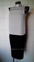 Нарядная шифоновая молочная блуза, с ажурным кантом, на р-ры XSS