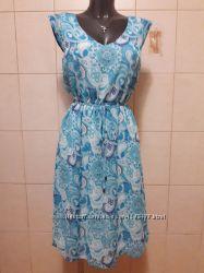 Красивое нежное, эффектное, яркое шифоновое, двухслойное платье, под поясок