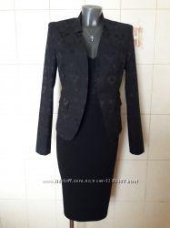 Красивенный, нарядный, праздничный парчовый черный пиджак New Look