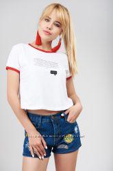 Красивые, яркие, молодежные, короткие джинсовые шорты Мом, с высокой посадкой