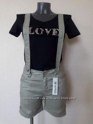 Стильные, легкие, качественные, льняные, 100лен, короткие шорты на бретелях