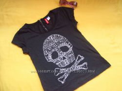 Стильная футболка на замочке сзади, H&M, узорчатая ткань, отличное состояние
