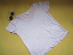 Меланжевая вискозная, приятная к телу футболка H&M, Турция