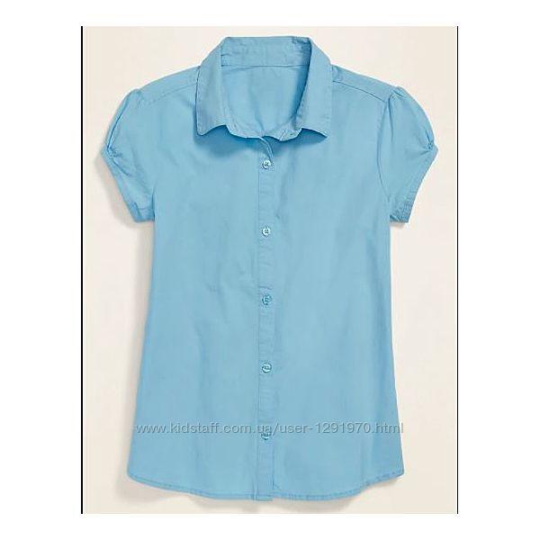 Школьная блузка old navy uniform short-sleeve shirt для девочки ростом 128