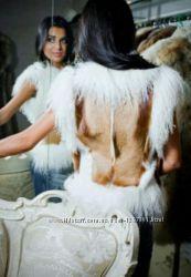 Меховая жилетка лама антилопа белая жилет