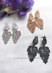 Модные, элегантные, чешские, ажурные серьги серебро, чёрные