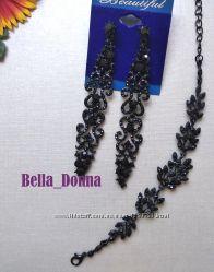 Очень красивые длинные серьги-люстры серебро и чёрный