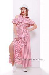 Длинное платье-сарафан из хлопка в полоску, 2 расцветки