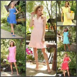 Платье из льна, хлопка, разные расцветки, размеры 42-52