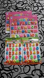 Буквы русский алфавит, цифры от 1 до 10 на магните