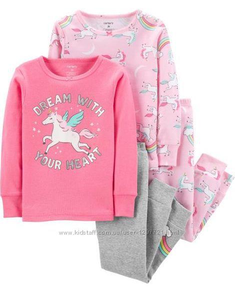 Carters Комплект пижам хлопок для девочки 2Т