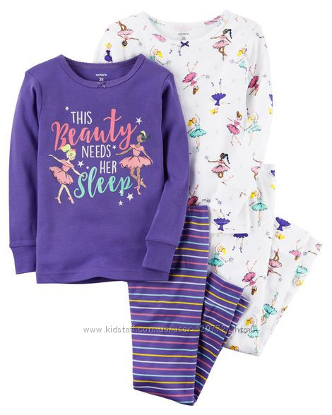 Carters Комплект пижам хлопок для девочки 3Т