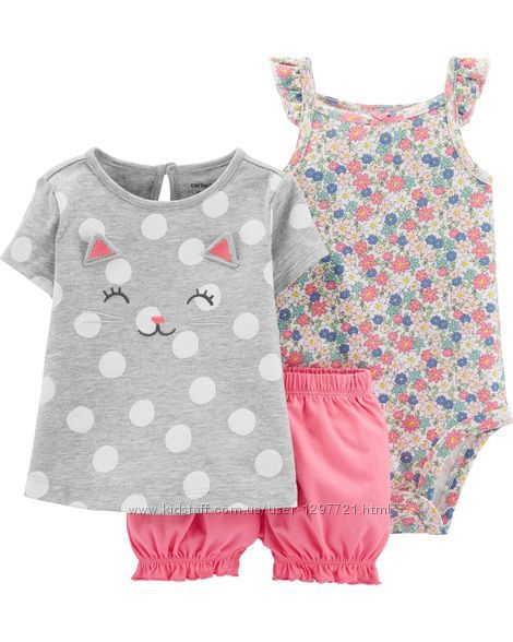 Carters Комплект 3-ка Топ шорты боди для девочки 12мес