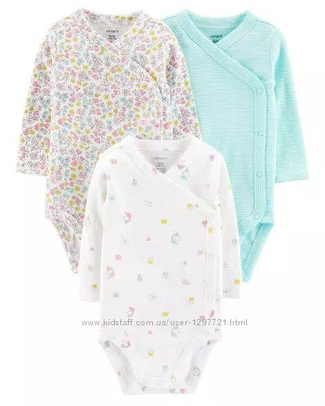 Carters Комплект боди кимоно с длинным рукавом для девочки 9мес