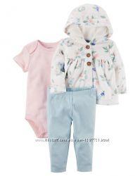Carters Комплект 3-ка Флисовая кофта штанишки боди для девочки 12мес