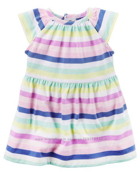 Carters платье в неоновую полоску 12мес трусики в комплекте
