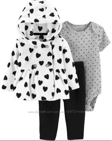 Carters Комплект 3-ка Флисовая кофта штанишки боди для девочки 24мес