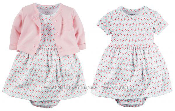 Carters Комплект 2-ка платье-боди и кардиган 9мес