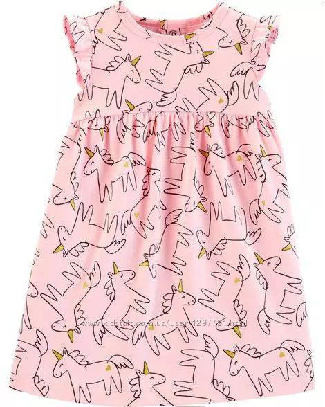 Carters платье с единорогами и глиттером 12мес трусики в комплекте