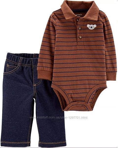 Carters Комплект 2-ка Боди поло джинсы для мальчика 9мес 18мес