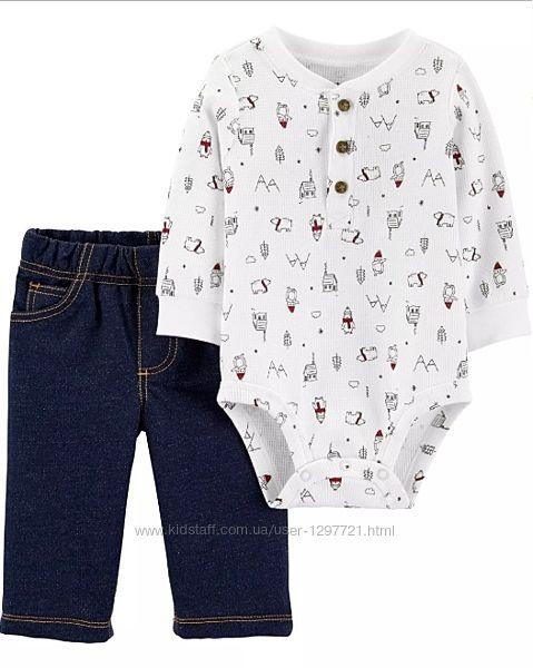 Carters Комплект 2-ка Боди джинсы для мальчика 18мес