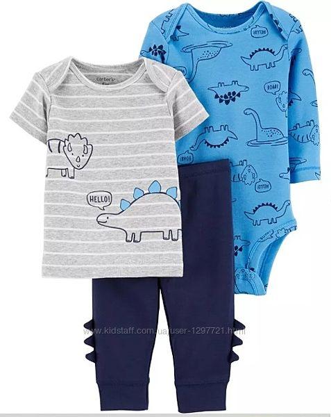 Carters Комплект 3-ка Футболка боди штанишки для мальчика 6мес