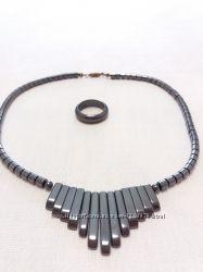 Набор украшений из гематина ожерелье и кольцо 17, 5- 18 размер