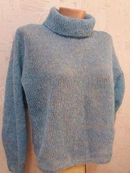 Стильный свитерок оверсайз мохер меланж люрекс ручная вязка