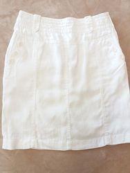 Льняная летняя белая юбка на подкладе
