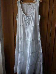 Лёгкий сарафан платье коттон паплин прошва бохо этно