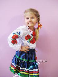 Вышиванка  Маки и мальва на девочку 2 - 8 лет.