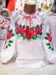 Вышиванка  Розы для девочек на рост 128-170
