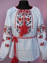Детская вышиванка Розочки хрестиком Рост 128-158
