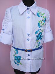 Школьная блузка с вышивкой Сакура для девочек